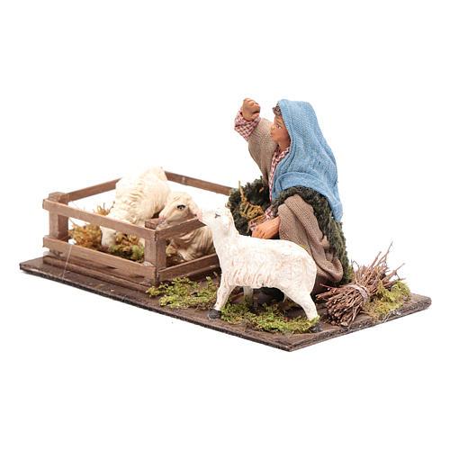 Guardiano pecore con recinto 10 cm presepe Napoli 2