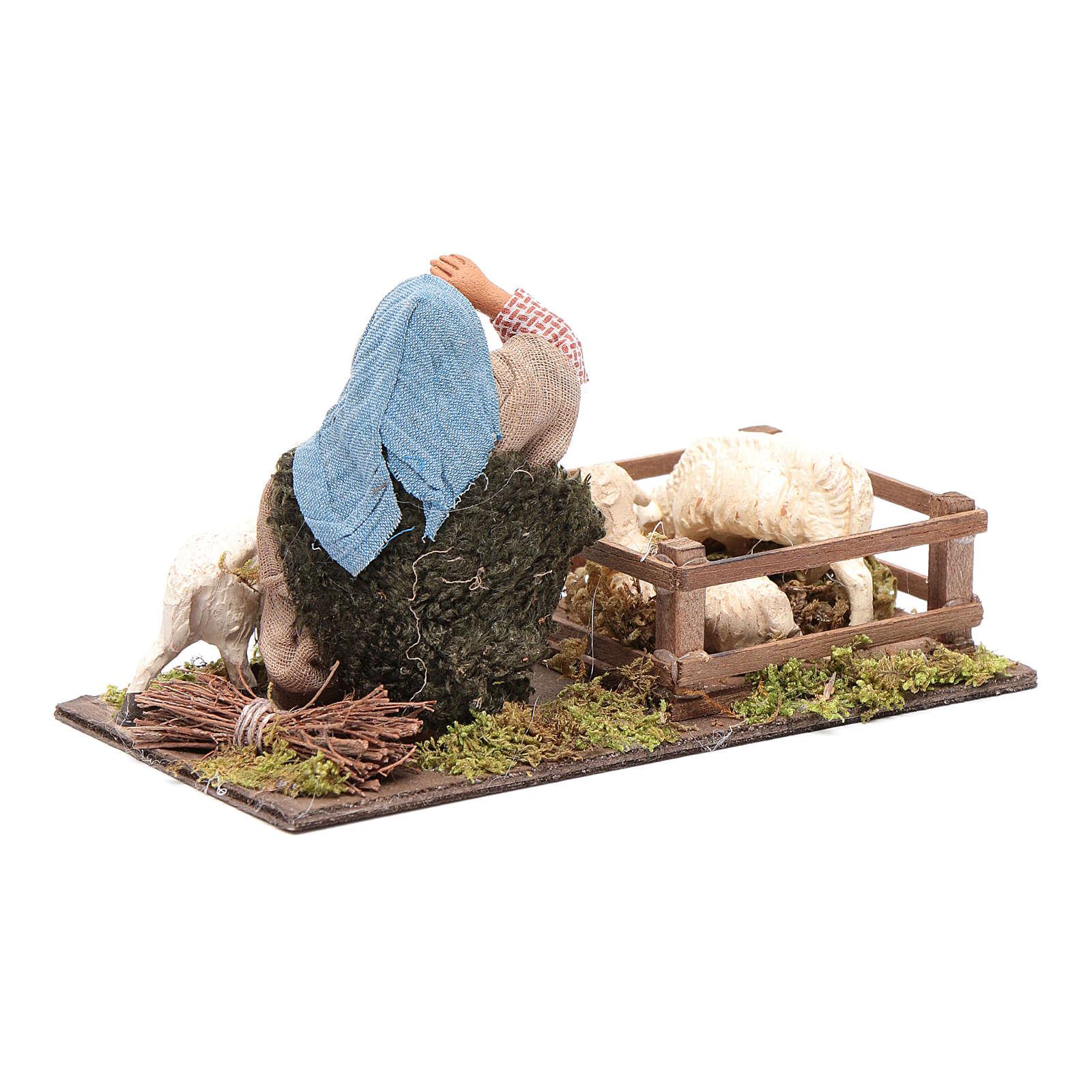 Shepherd with sheep cote 10cm, Neapolitan Nativity figurine 4