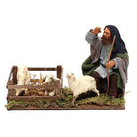 Shepherd with sheep cote 10cm, Neapolitan Nativity figurine s1