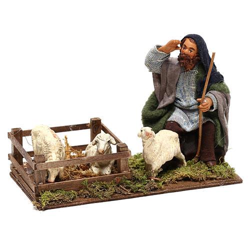 Shepherd with sheep cote 10cm, Neapolitan Nativity figurine 3