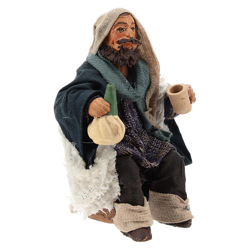 Man with flask for table 10cm, Nepolitan Nativity figurine 3