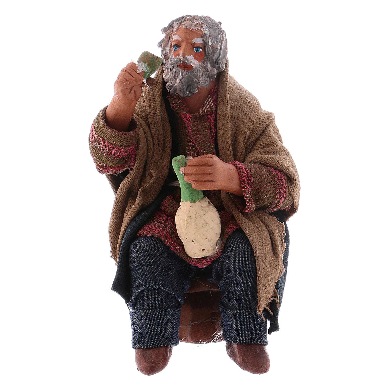 Uomo con fiasco di vino per tavolata 10 cm presepe Napoli 4