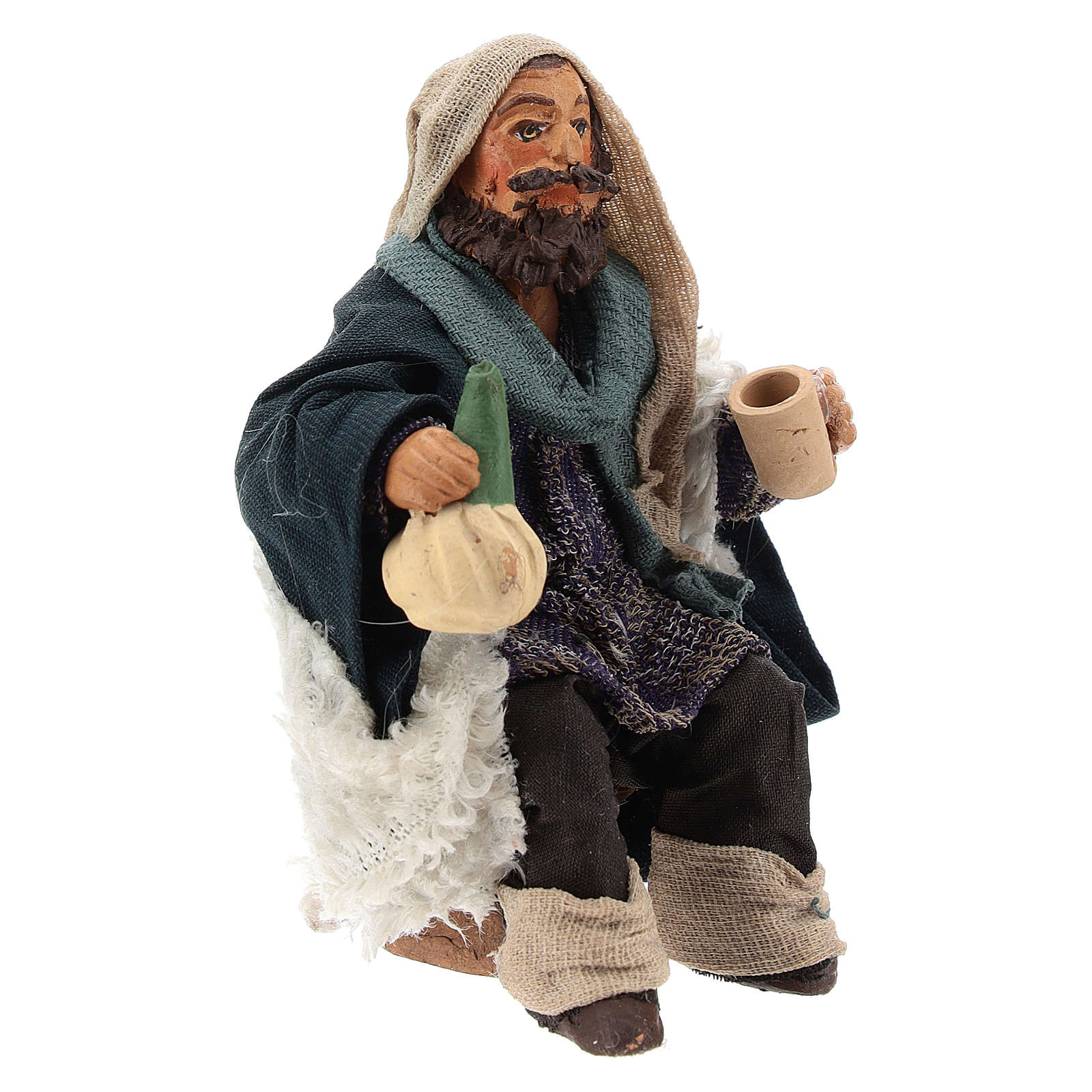 Man with flask for table 10cm, Nepolitan Nativity figurine 4