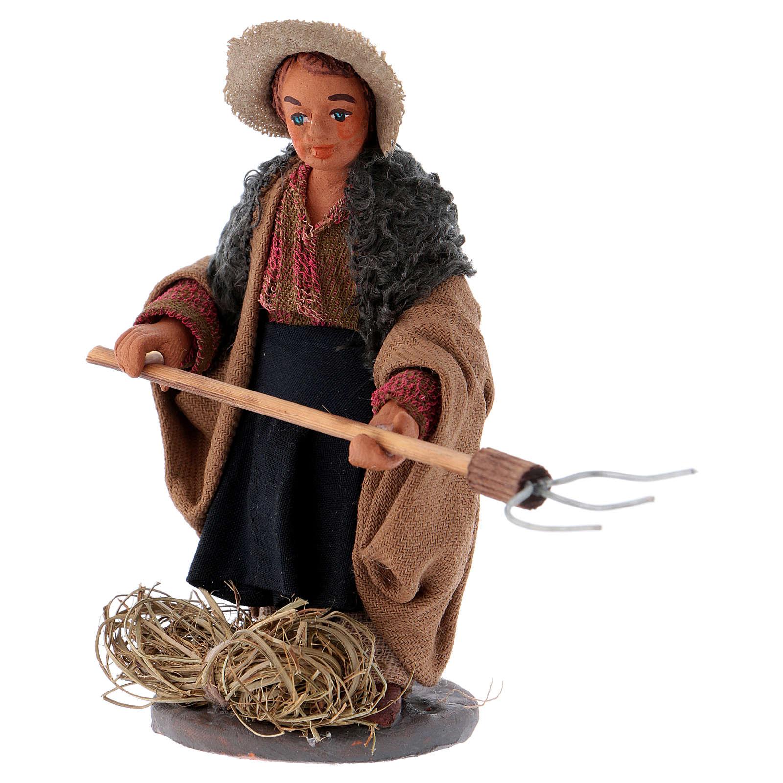 Agriculteur avec fourche 10 cm crèche Naples 4