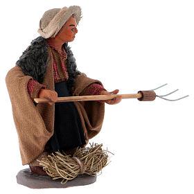 Agriculteur avec fourche 10 cm crèche Naples s2