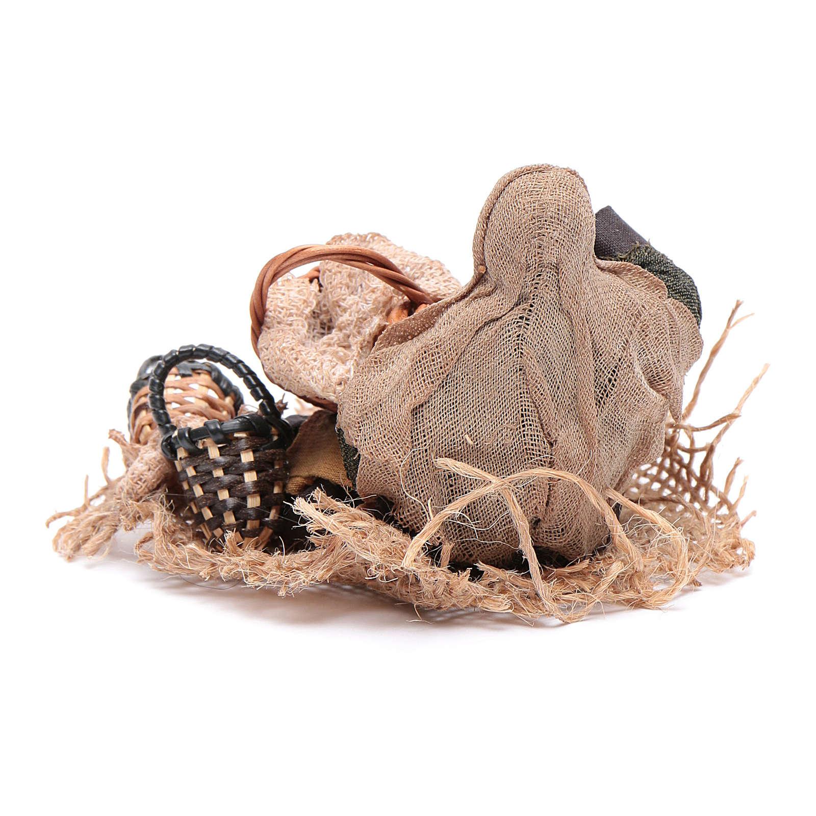 Araba seduta per terra con cesti di paglia 10 cm presepe Napoli 4