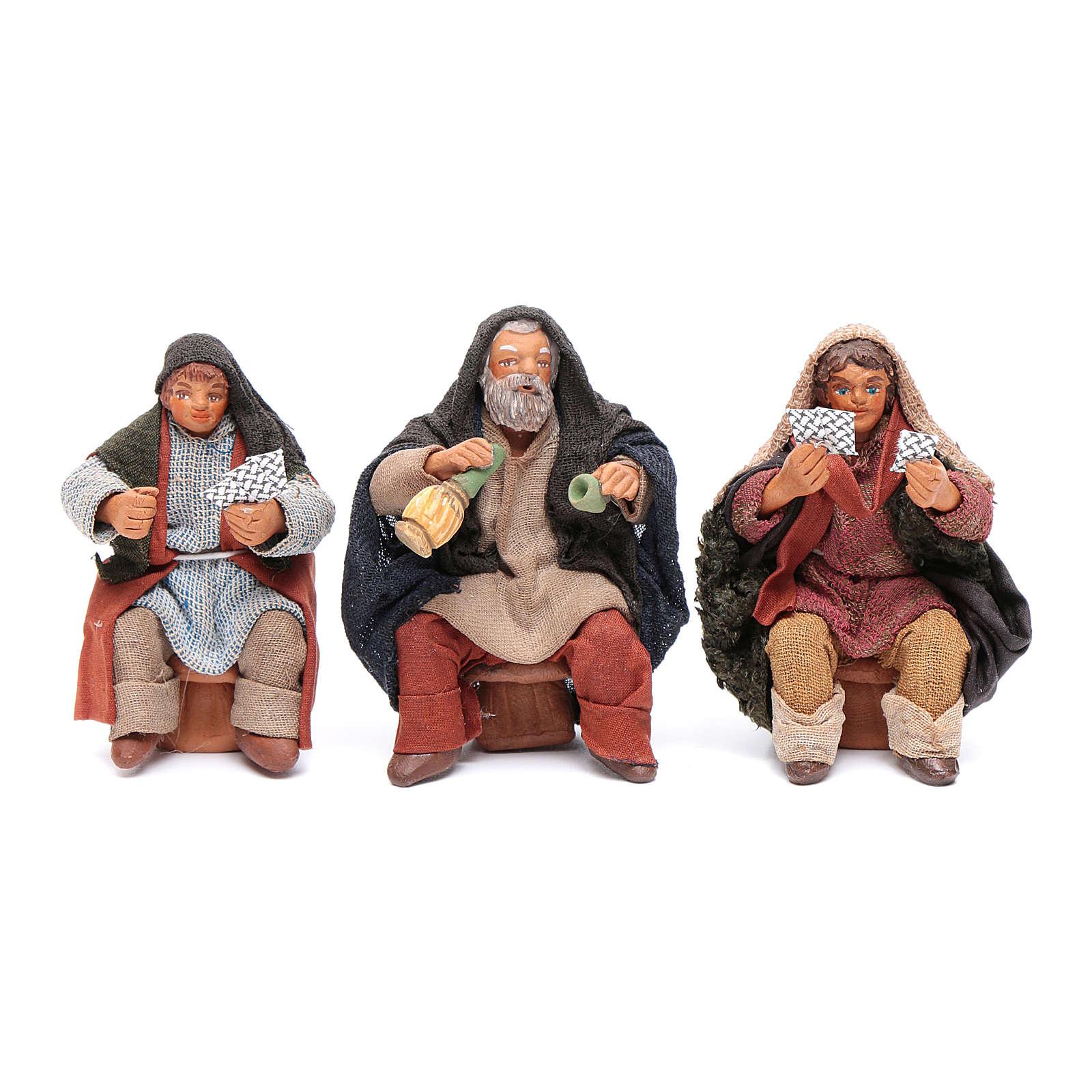 Set giocatori carte 3 personaggi 10 cm presepe Napoli 4