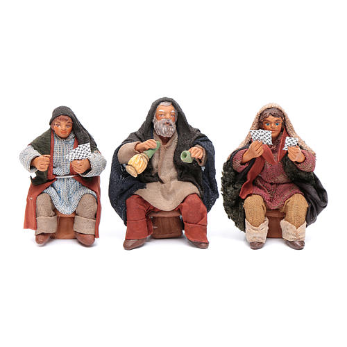 Cards players 3 figurines 10cm, Nativity Scene 1
