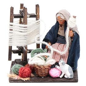 Neapolitan Nativity Scene: Woman spinning wool with cat 10cm, Nativity figurine