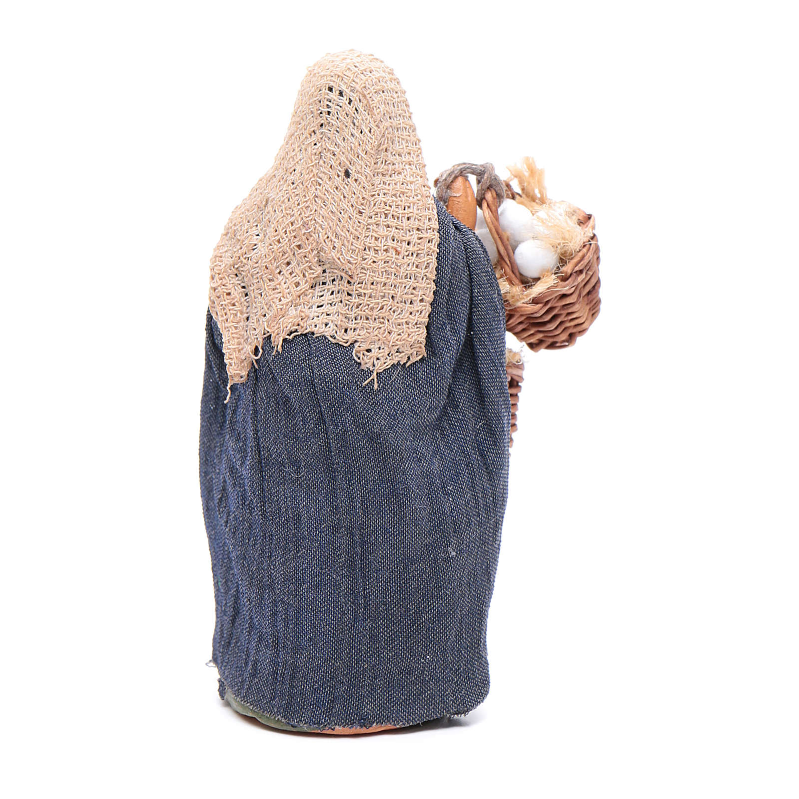 Donna con gallina e cestino uova 10 cm presepe napoletano 4