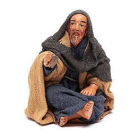 Neapolitan Nativity Scene: Sitting man with glass 10cm, Nativity figurine