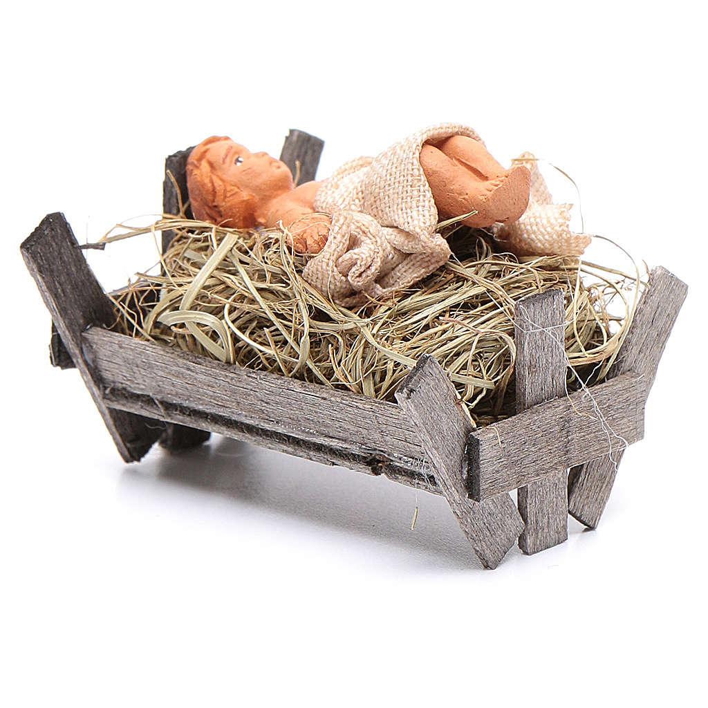 Bambino in culla di legno 10 cm presepe napoletano 4