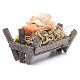 Bambino in culla di legno 10 cm presepe napoletano s7
