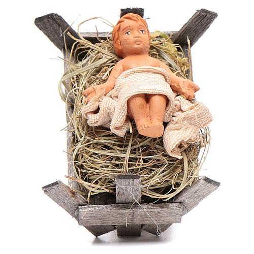 Bambino in culla di legno 10 cm presepe napoletano 1