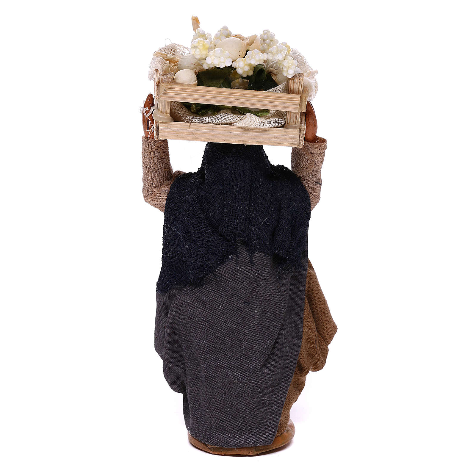 Woman carrying flowers box on head 10cm, Nativity figurine 4