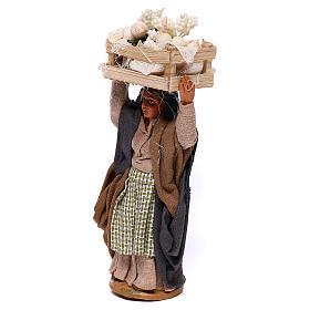 Woman carrying flowers box on head 10cm, Nativity figurine s2
