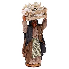 Woman carrying flowers box on head 10cm, Nativity figurine s3
