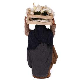 Woman carrying flowers box on head 10cm, Nativity figurine s4