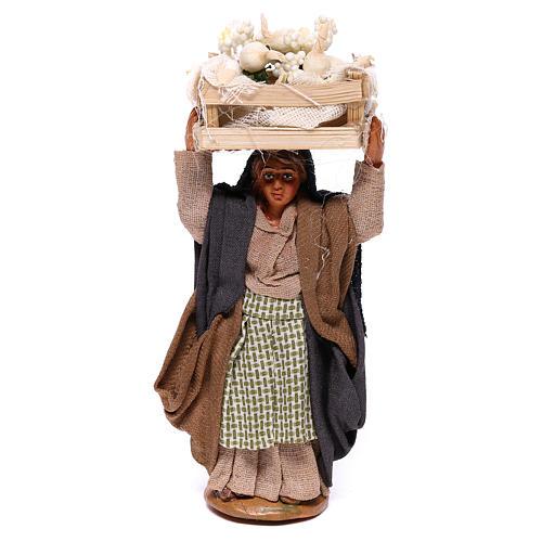 Woman carrying flowers box on head 10cm, Nativity figurine 1