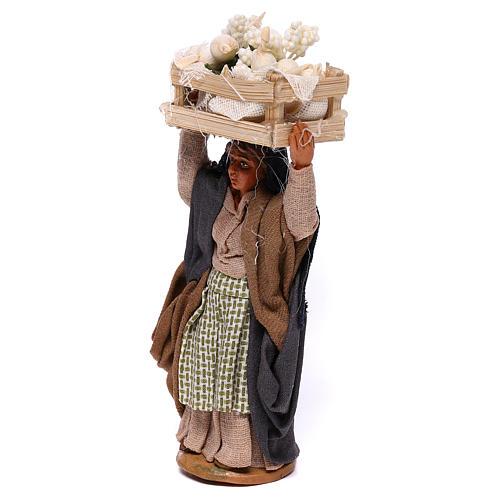 Woman carrying flowers box on head 10cm, Nativity figurine 2