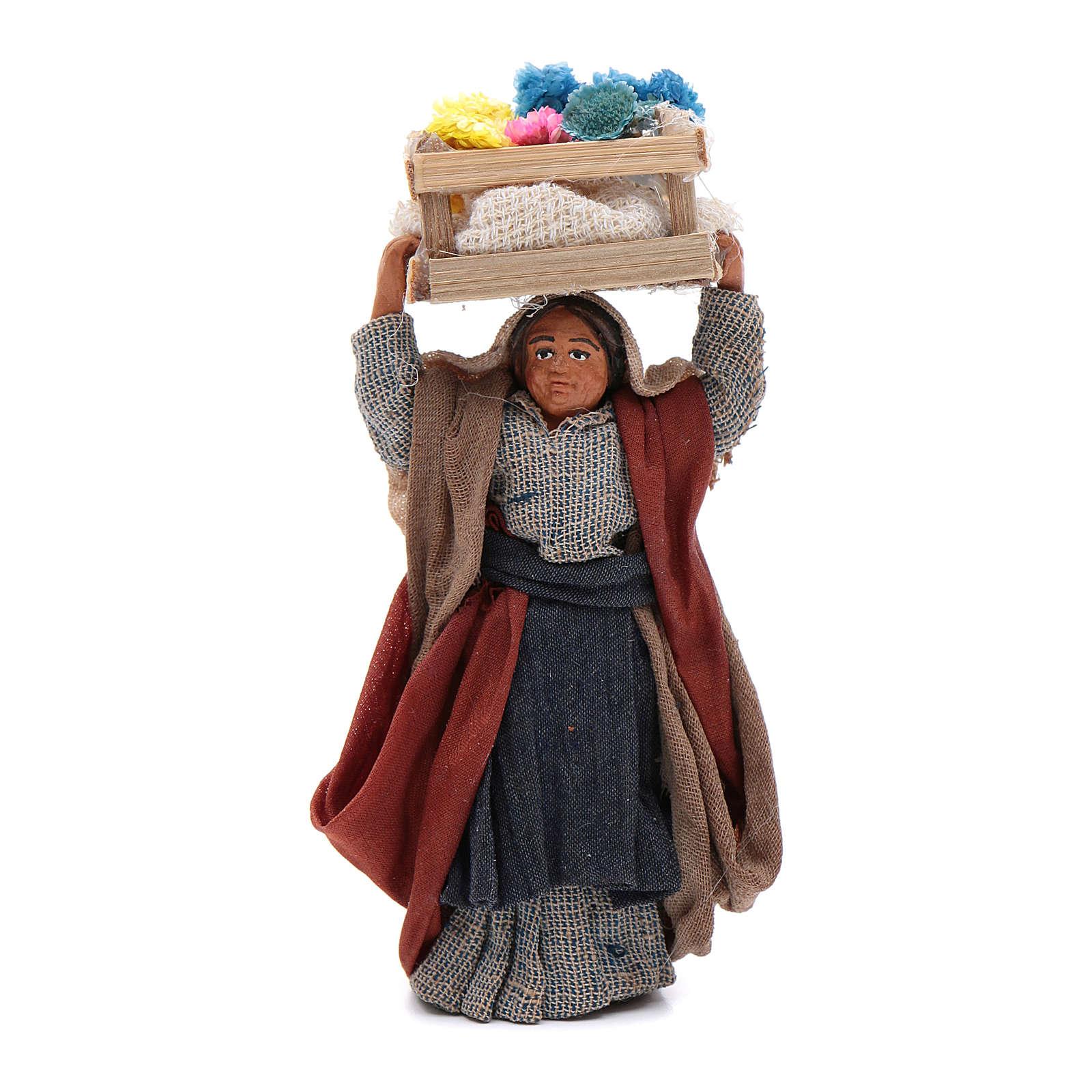 Mujer con caja de flores sobre la cabeza 10 cm Belén napolitano 4