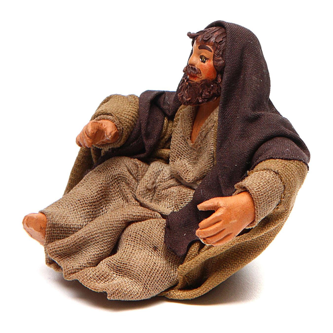 San Giuseppe seduto 10 cm presepe napoletano 4