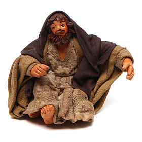 San Giuseppe seduto 10 cm presepe napoletano s1