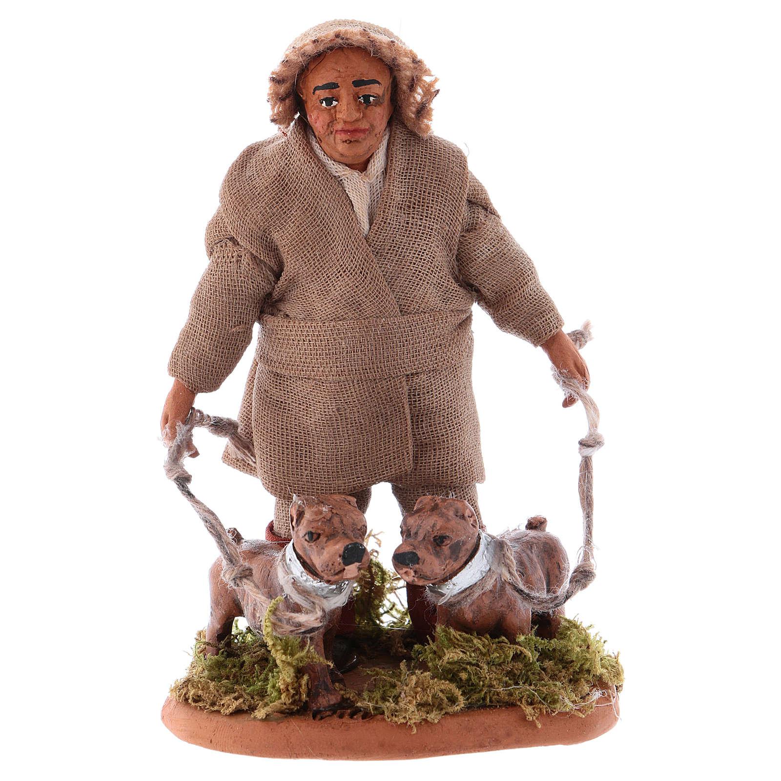 Huner with dogs 10cm, Neapolitan Nativity figurine 4
