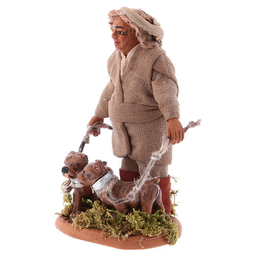 Huner with dogs 10cm, Neapolitan Nativity figurine 2