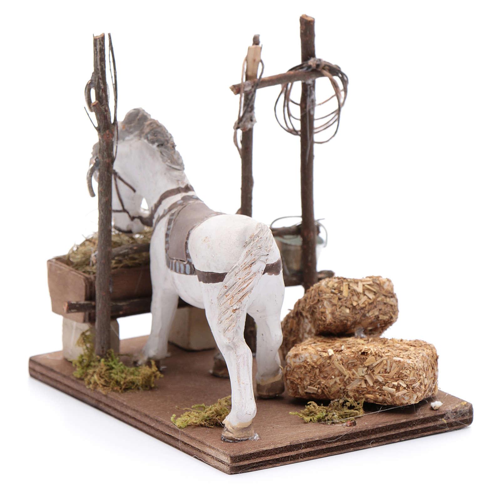 Cavallo con mangiatoia 10 cm  presepe napoletano 4