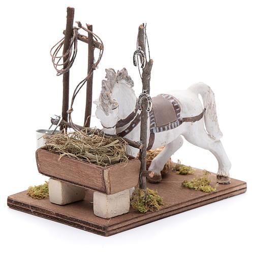 Cavallo con mangiatoia 10 cm  presepe napoletano 2