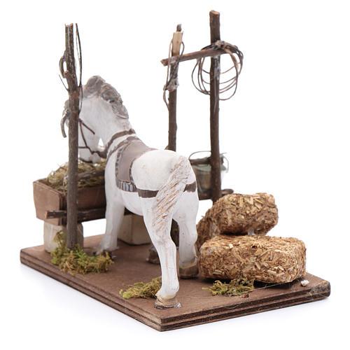 Cavallo con mangiatoia 10 cm  presepe napoletano 3
