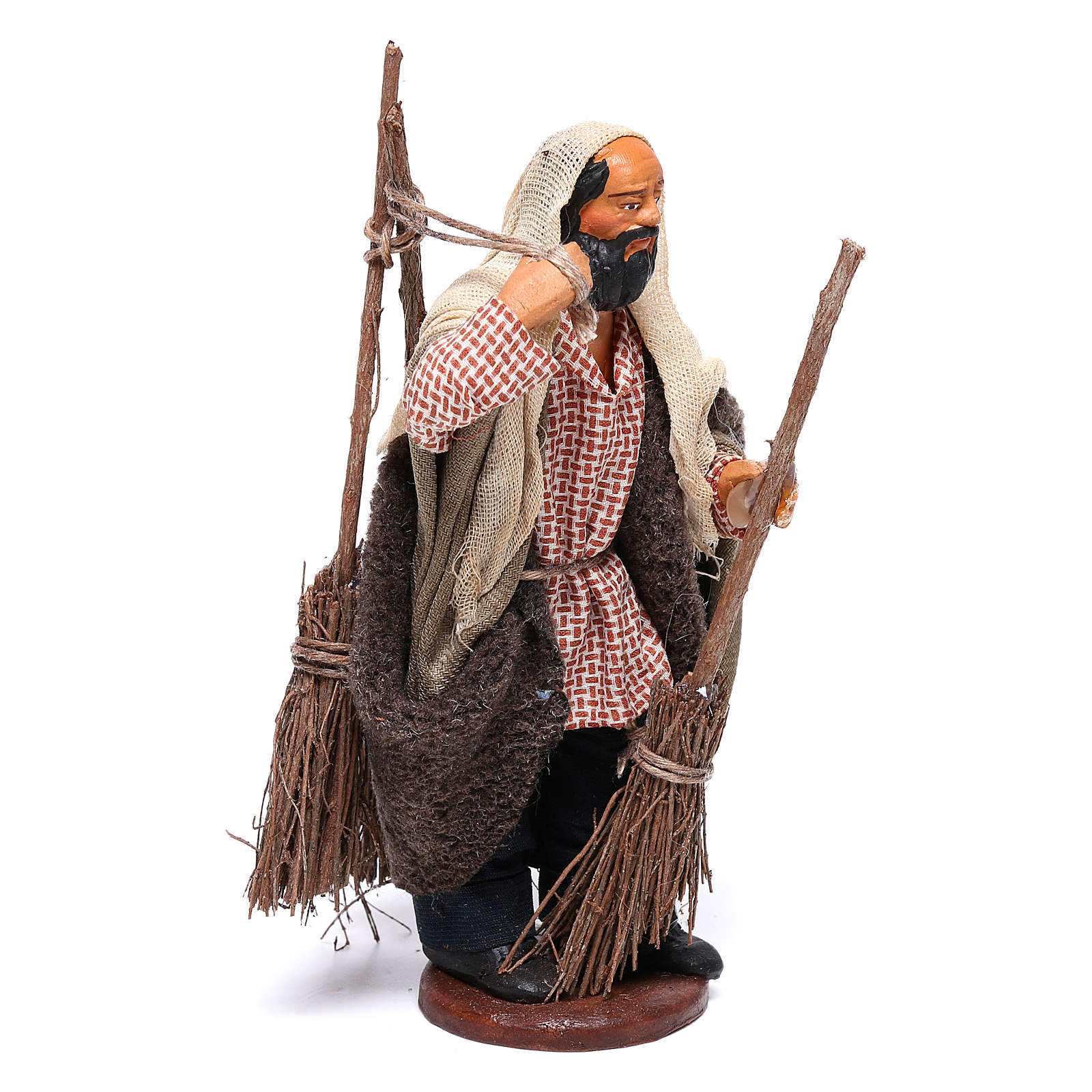Man with brooms 13cm Neapolitan Nativity figurine 4