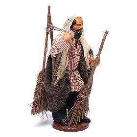 Man with brooms 13cm Neapolitan Nativity figurine s3