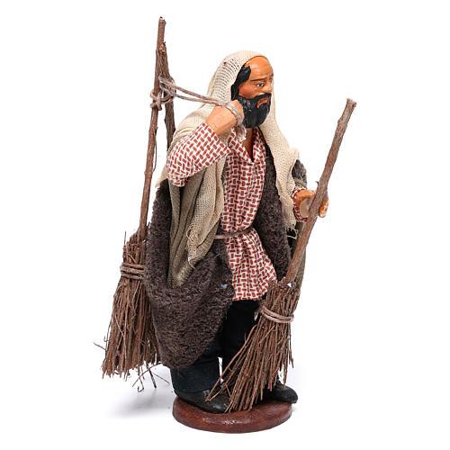 Man with brooms 13cm Neapolitan Nativity figurine 3
