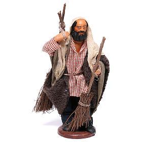 Man with brooms 13cm Neapolitan Nativity figurine s1