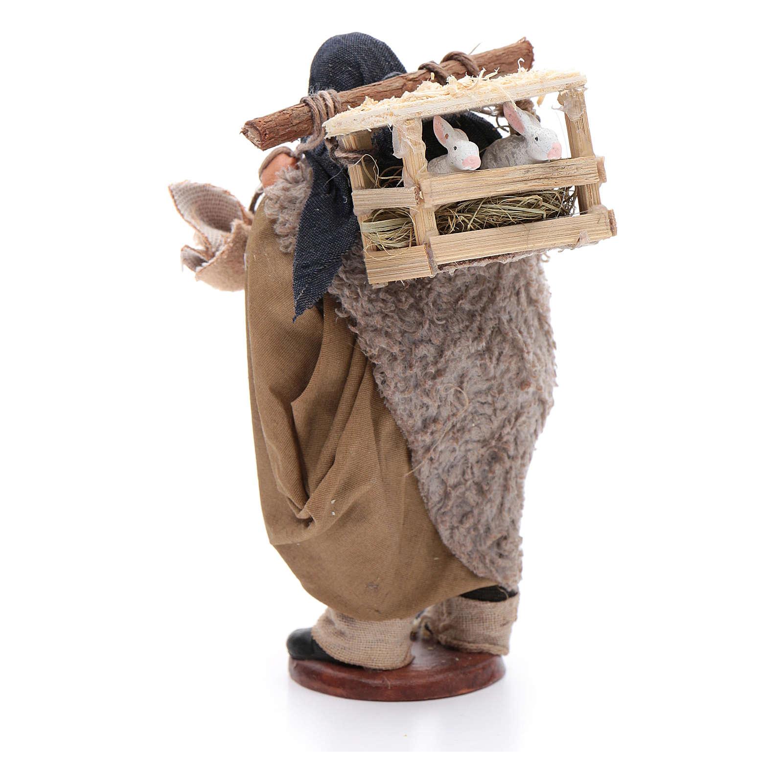 Pastore con conigliera dietro spalle 12 cm presepe Napoli 4