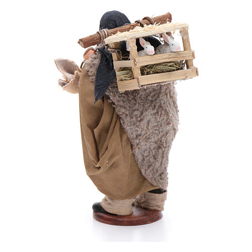 Pastore con conigliera dietro spalle 12 cm presepe Napoli 3