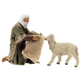 Kneeling man feeding sheep 13 cm, Neapolitan Nativity figurine s1