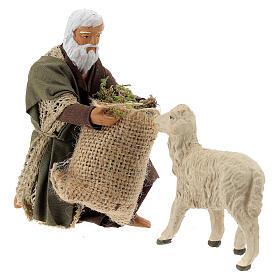 Kneeling man feeding sheep 13 cm, Neapolitan Nativity figurine s3