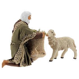 Kneeling man feeding sheep 13 cm, Neapolitan Nativity figurine s4