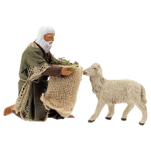 Kneeling man feeding sheep 13 cm, Neapolitan Nativity figurine 1