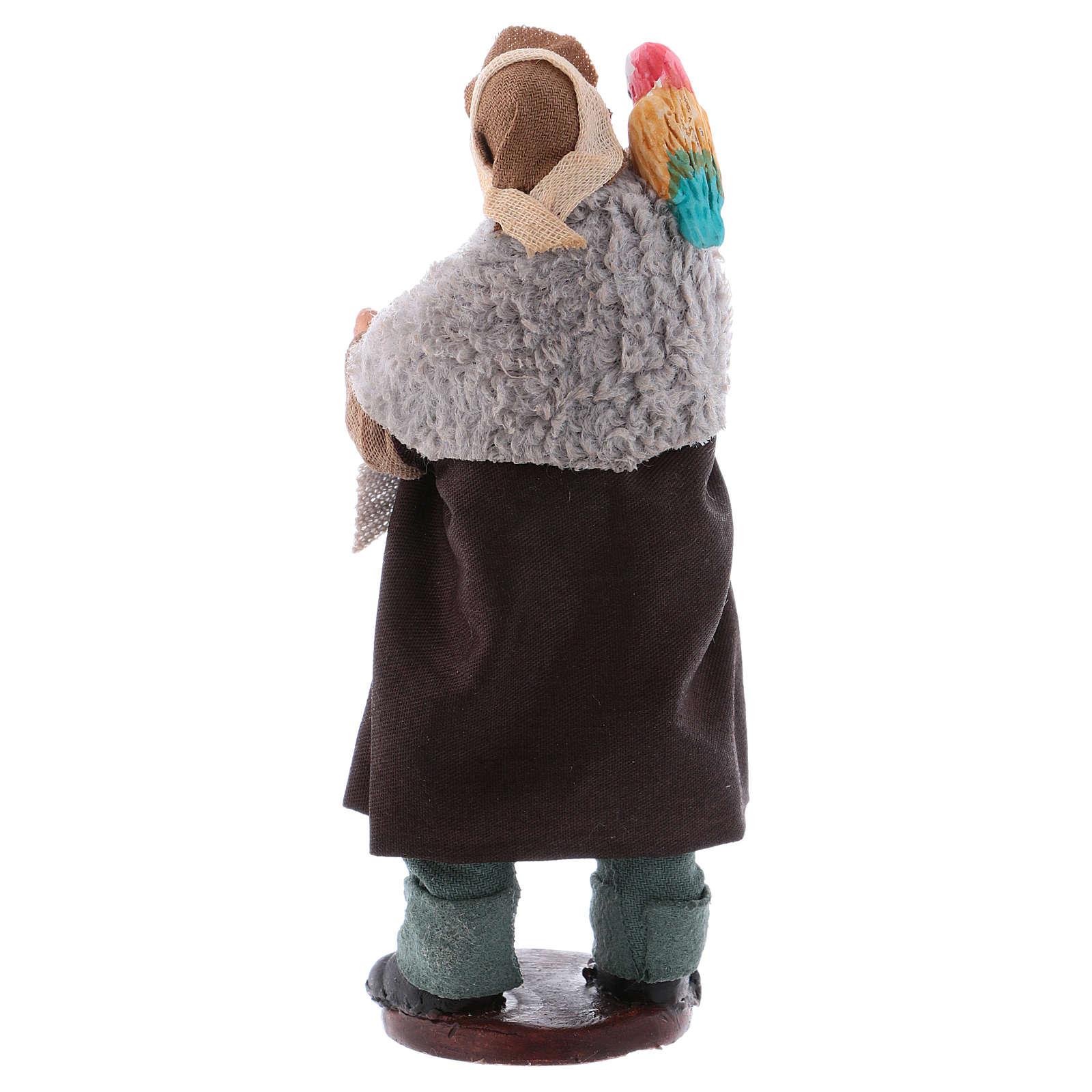 Uomo con pappagallo su spalla 12 cm presepe napoletano 4