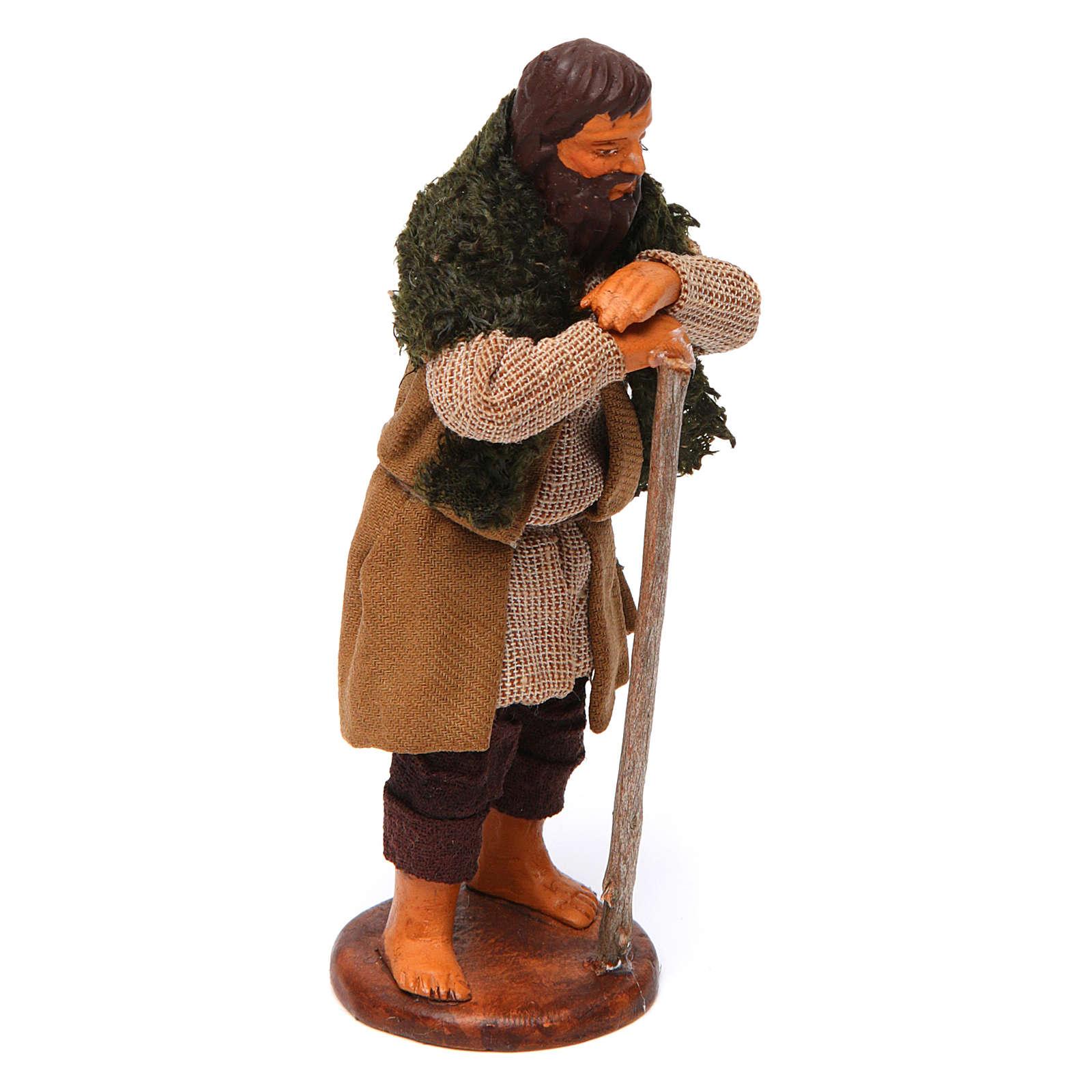 Uomo in piedi appoggiato al bastone 12 cm presepe Napoli 4