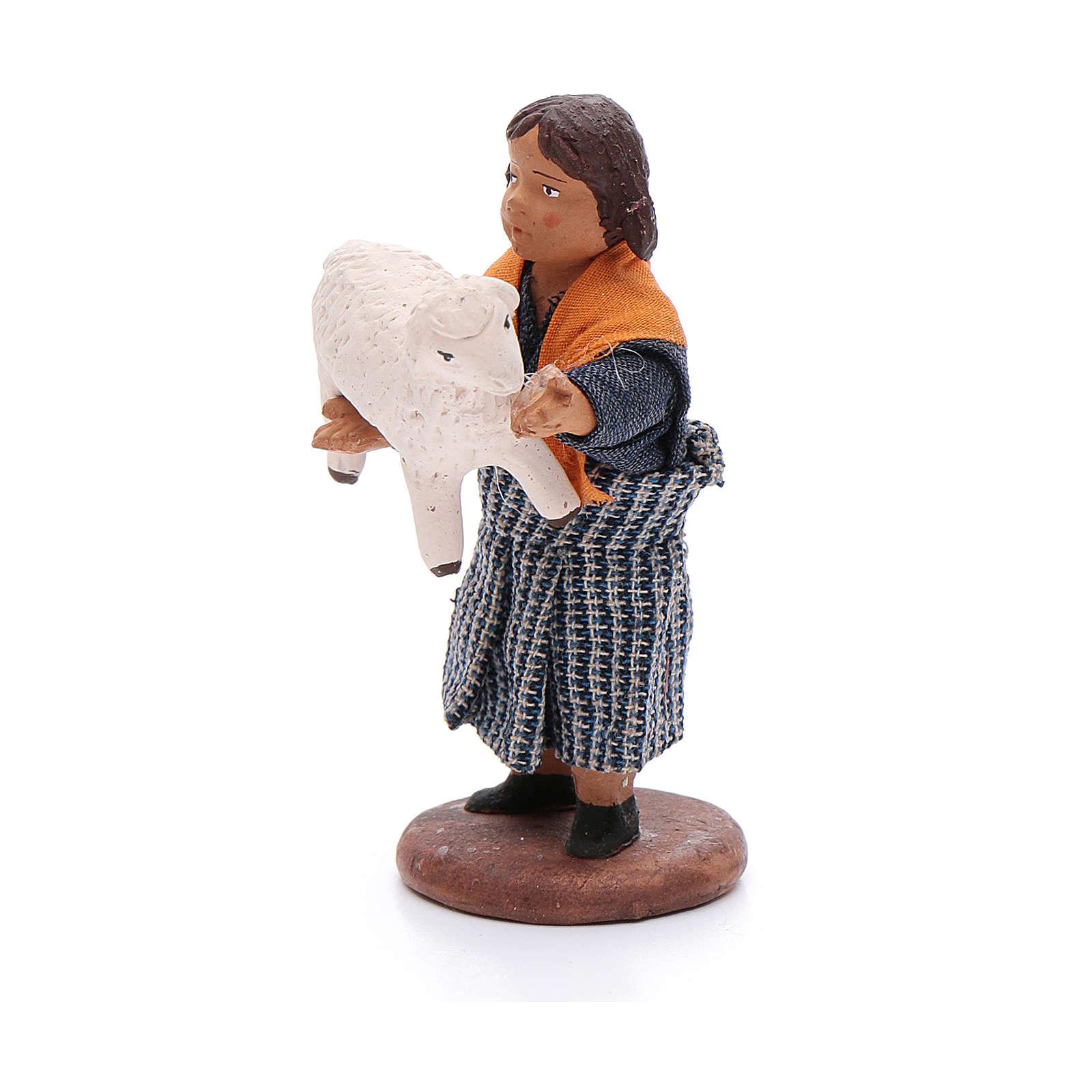 Fanciulla con pecora in braccio 12 cm presepe napoletano 4