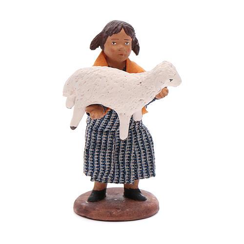 Fanciulla con pecora in braccio 12 cm presepe napoletano 1