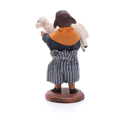 Fanciulla con pecora in braccio 12 cm presepe napoletano 3