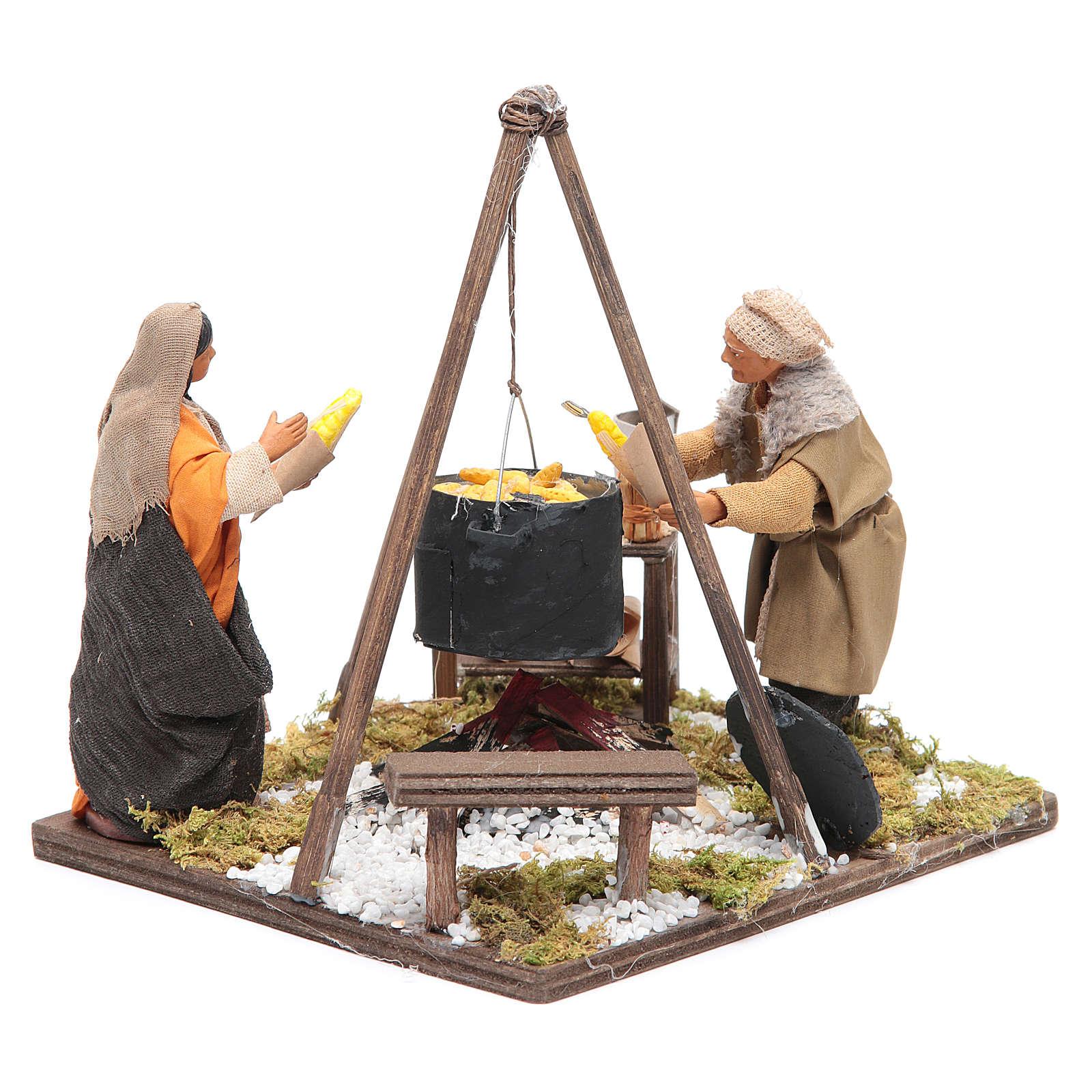 Escena con 2 figuras y espigas 12 cm Belén napolitano 4