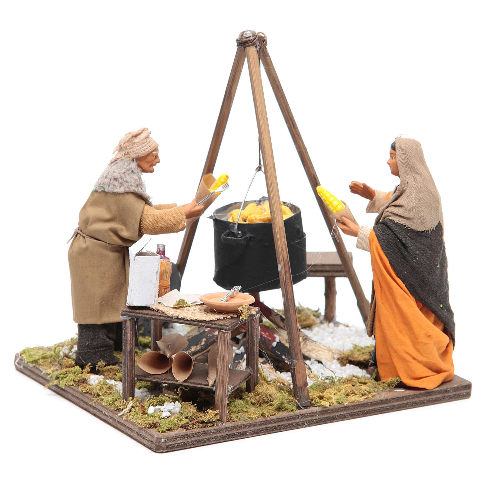Women boiling corns 12 cm Neapolitan Nativity 4