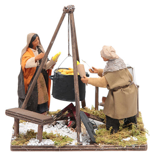 Women boiling corns 12 cm Neapolitan Nativity 1